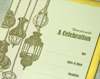 SALE - Boxed Party Letterpress Invitations - Lanternes-Fill in - 10pk - 75% off