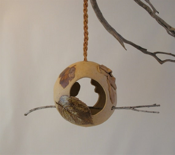 Hanging Clay Bird Feeder - Two Sided - Using Real Leaves - Real Stick Perch