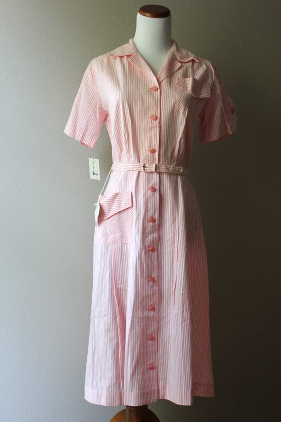 SALE 1950s pink stripes summer day dress // deadstock with tags