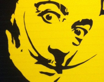 yellow duct taped 24x30 street art stencil of salvadore dali on canvas...