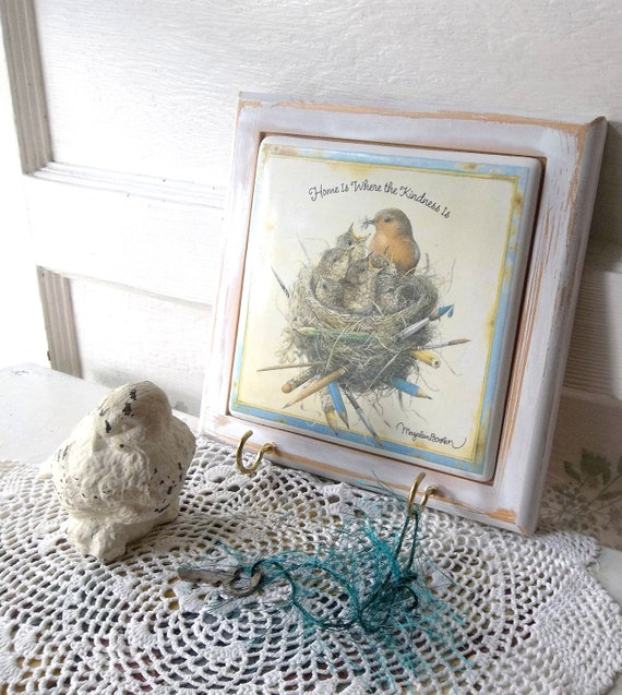 RESERVED 4 Patti...Wall Key Hook. Shabby Chic jewelry hanger. Rack. Robin Nest Art. Marjolein Bastin Art.