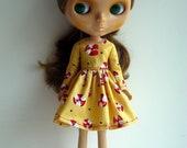 Dark Mustard Goldenrod Long Sleeved Dress for Blythe Dolls Dark Green Polka Dots Red White Peppermint
