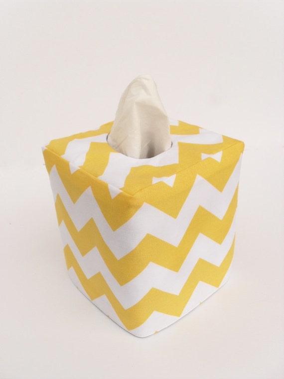 Yellow chevron reversible tissue box cover