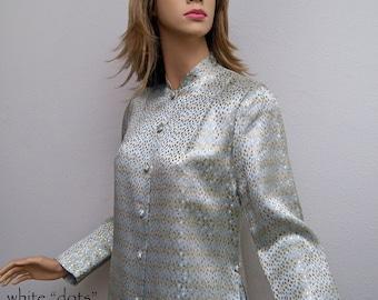 Vintage 60s 70s Jacket  or Blouse // 1960s-1970s Silver Metallic Silk Brocade Jacket Asian Falling Leaves