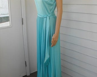 70s Blue Maxi Dress Pleated Ombre Shimmer Sleeveless Full Long and Jacket S M