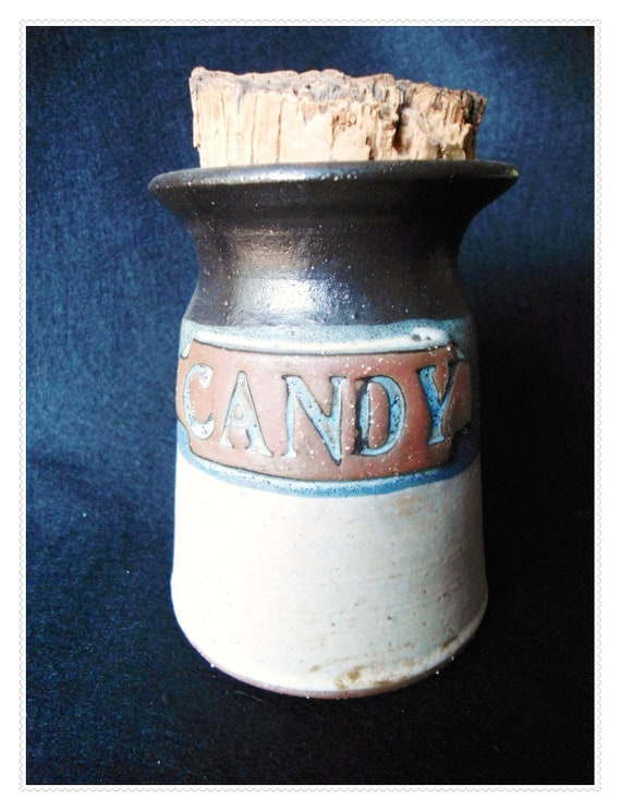 Primitive Looking Stoneware CANDY JAR with Cork Top - Blue Tan