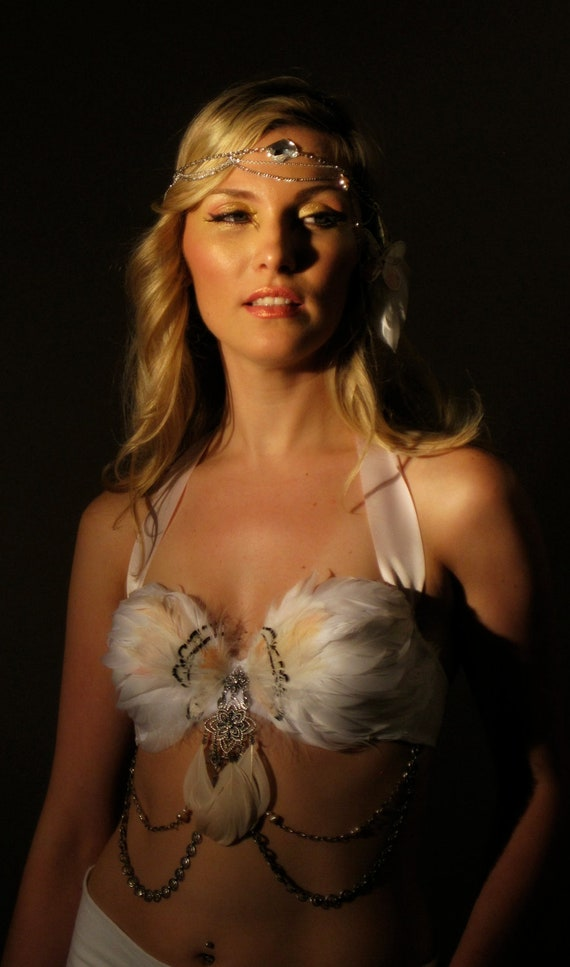RESERVED for Brittany/ Blushing Phantom Belly Dance Top 34 B /Swan and Flamingo Feathers White and Pink/ 014