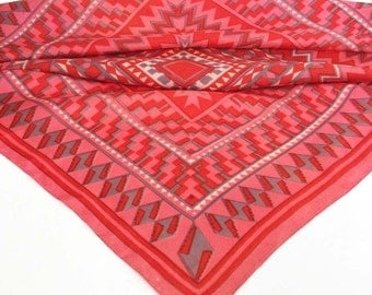 Geometrical Print Scarf in Red - Vintage Scarf - Zig-Zag Chevrons - Optical Illusion - Shades of Red