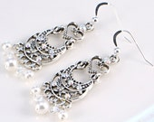 Fancy Pearl and Crystal Chandelier Earrings - Bridal, Bride, Wedding Jewelry