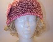 Crochet Hat, Romantic Pink Cloche, Flower Trimmed Pink Crocheted Hat, Cloche, Skullcap, Beanie