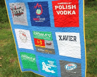 T Shirt Quilt, Custom Made, Lap Size, Throw Blanket, 9 Patch Squares, Totally Custom, Long Arm Quilted