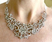 FINAL CLEARANCE SALE - Wedding Necklace, Statement Necklace Bridal, Austrian Crystal Necklace, Crystal Bridal Necklace, Wedding Jewelry