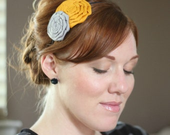 Mustard and Grey Folded Rose Headband