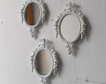 White Mirror Set, Small Decorative Mirrors, Vintage French Country Cottage, White Nursery Wall Decor Ideas, Baby Shower Gifts