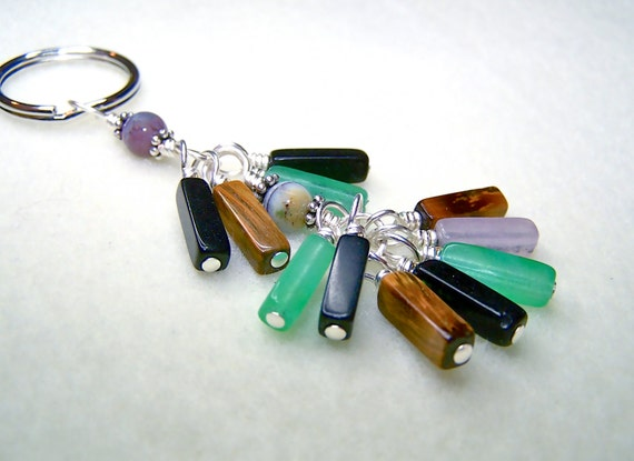 Gemstone Keychain - Handmade Silver Keyring for Men or Women with Mixed Gemstone Beads