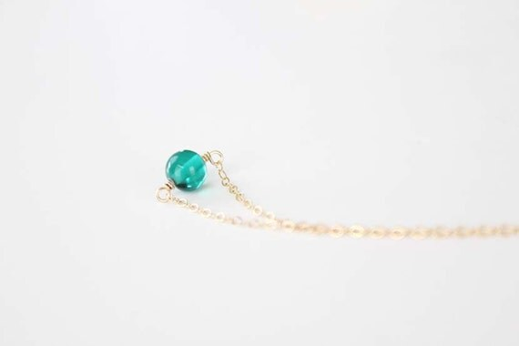 Tiny Glass Bead Necklace - Teal - Serenity - SALE