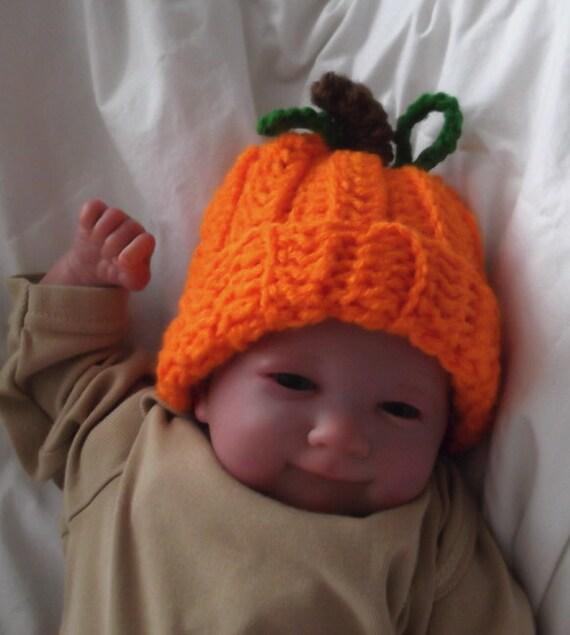 Fall....Pumpkin Hat ....  PREEMIES.....4 to 6 lb....  Boy or Girl ... Photo Prop ....  READY  to  SHIP