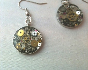 Silver Clockwork Clutter Round Earrings