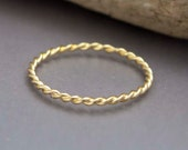 14k Gold Extra Tiny Twist Ring in Solid Yellow Gold or White Gold - 1.25mm