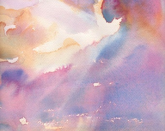 Silver Lining Cloudy Sunset Watercolor - Signed Giclee Fine Art Print