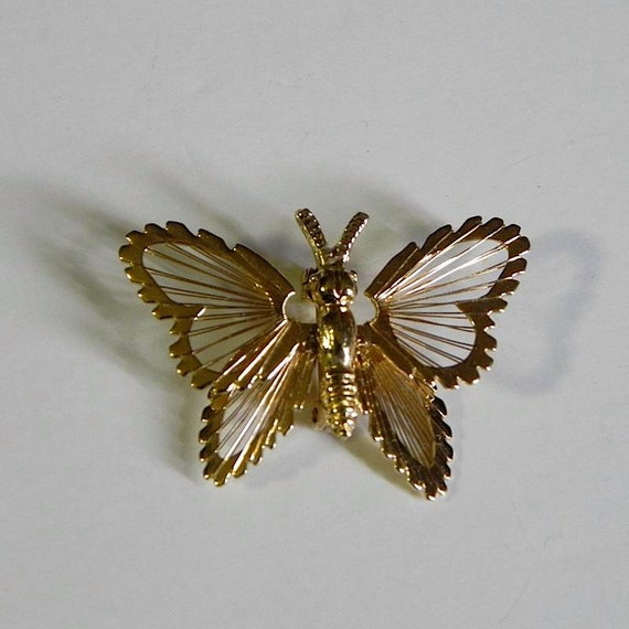 Vintage 1960s Monet Butterfly Wire Wing Brooch -on sale