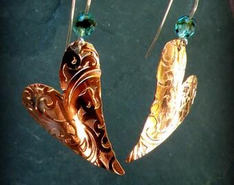 Filigree textured copper heart earrings