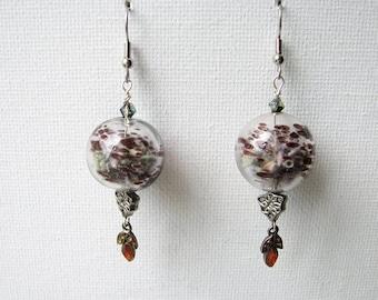 Purple drop earrings | blown glass | lavender buds | dangle | terrarium