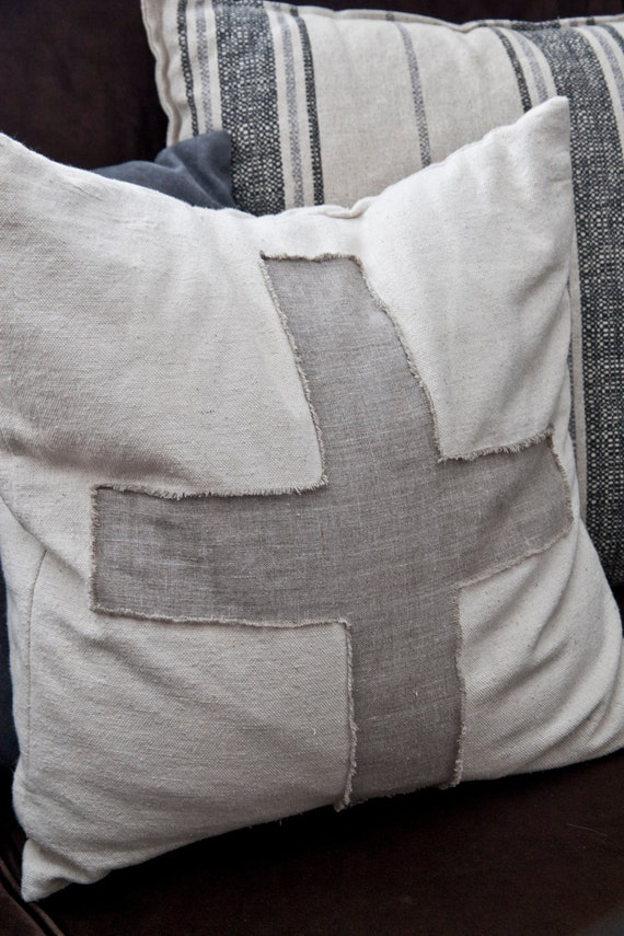 Canvas and Linen Swiss Cross Pillow Cover 18x18