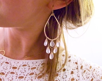 Rose Quartz Earrings - Rose Cascade Hoops - Rose Quartz and Teardrop Shaped Rose Gold Filled Handmade Chandelier Earrings