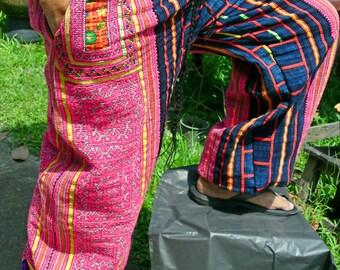 100 percent hemp pants with neon purple pink batik/embroidery Unisex