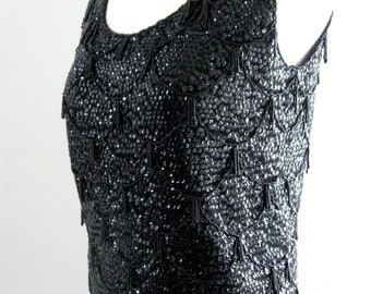 Vintage Beaded Knit Shell Black Sleeveless Top Blouse Imperial Imports Cocktail Mad Men Flapper