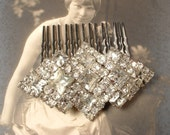 TRUE Vintage Old Hollywood Art Deco Rhinestone Bridal Hair Comb, OOAK Brooch Haircomb