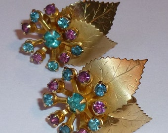 Gold Toned Vintage Leaf Earrings With Aqua And Amethyst Prong Set Rhinestones