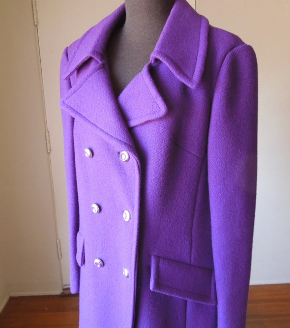 Vintage 60's Pea Coat Bright Purple Violet Amethyst