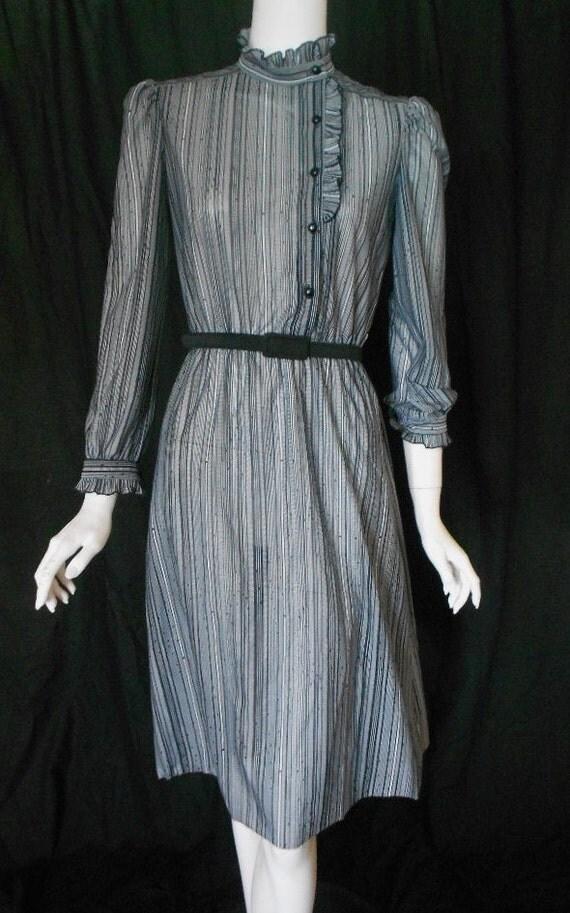 vintage secretary dress black and white striped sheer dress ruffled