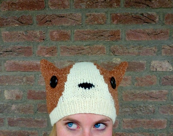 Fox Hat, Knit Animal Hat, Furry Cosplay Corgi Ear Hat -  Red Brown, Cream White, Black