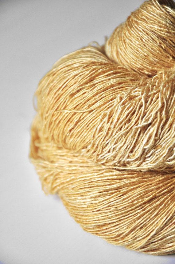 Lion kicking the bucket OOAK- Tussah Silk Yarn Fingering weight
