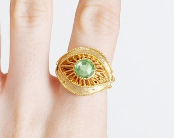 60s 70s Green Rhinestone Crystal Gold Ring