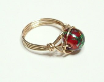Crackle Confetti Red Green Gold Handmade Wire Wrapped Ring Sizes 1-14