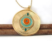 Turquoise necklace,  Statement necklace,    big pendant,  Gold long Necklace, ,  14K gold filled,  big pendant,