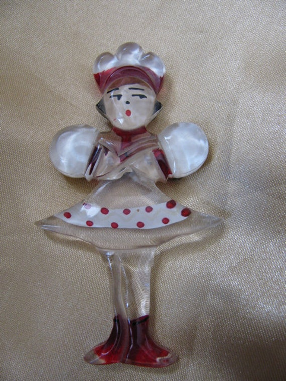 Lucite Russian Dancer Brooch - Reverse Painted
