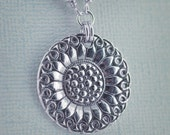 Art deco sunflower and dragonfly pendant necklace - fine silver PMC