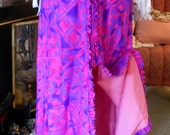 Hot Pink Hawaiian Print Maxi Skirt Ruffled Front Slit Vintage Size M at Quilted Nest