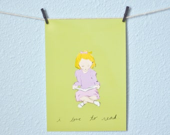 Nursery Art Illustration -- Love to Read Girl