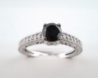 Fancy Black Diamond Engagement Ring 14K White Gold 0.65 Carat Certified Pave Set