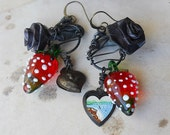 SALE 50% off - Strawberry Rose Hearts - Niagara Falls Rustic Honeymoon Earrings - Red and Black Assemblage Earrings