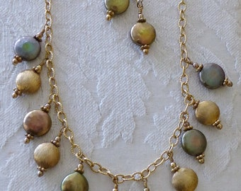 Metallic Button Pearl Necklace on 14 Karat Gold Filled Chain with Earrings