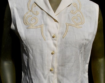 Vintage 50's Irish linen embroidered summer  blouse sleeveless top sL by thekaliman