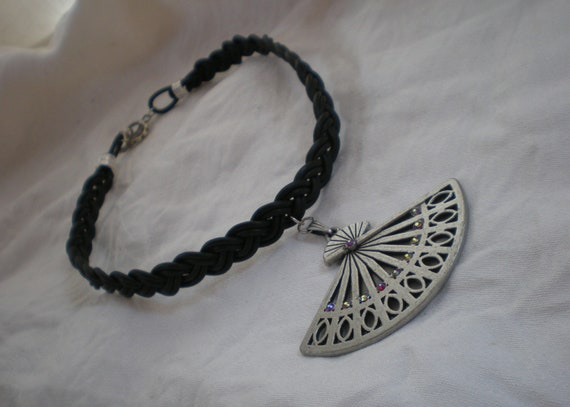 Reserved for  Sweet stripes:Braided Leather Choker necklace steampunk