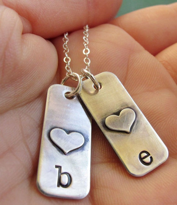Personalized, Hand Stamped Kid's Initials Necklace,  Sterling Silver Tags, Mother's Necklace, Mother's Day Gift